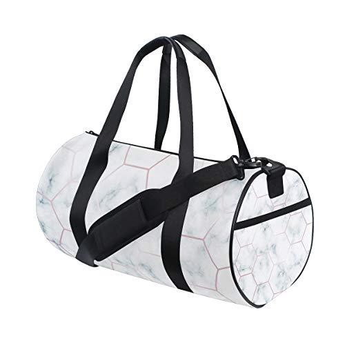 ZOMOY Sporttasche,Grüne Marmordesign Schablone sechseckige Rose,Neue Druckzylinder Sporttasche Fitness Taschen Reisetasche Gepäck Leinwand Handtasche