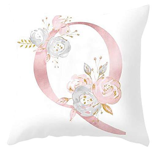 H87yC4ra Cubiertas del Cojín del Alfabeto, Funda De Almohada Decorativa para El Dormitorio del Sofá De La Sala De Estar Q