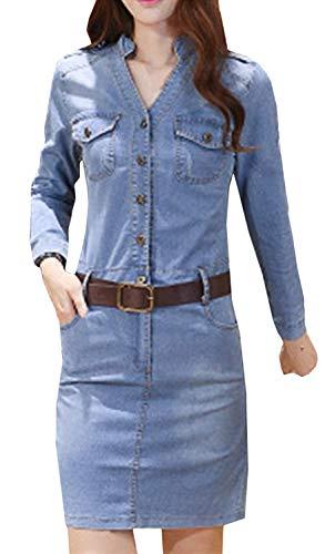 Dames zomer jeansjurk bodycon V-jeansjurk casual uitsnijding knoop knielange fashion completeti epaulet denim blousejurk cocktailjurk met