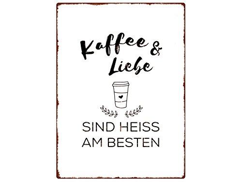 Interluxe WANDSCHILD Metallschild Kaffee & Liebe SIND HEISS AM BESTEN Küche Deko Lustig