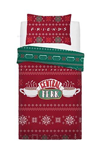Sleepdown Friends Christmas Sweater - Single Reversible Duvet Cover Set and Pillowcase