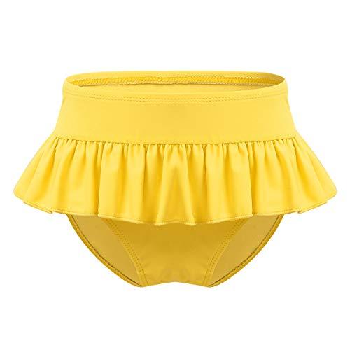 CHICTRY Mädchen Badeshorts Kinder Bikinislip mit Rock Badehose Kurz UPF50 Bademode Schwimmhose Schwimm Sport Bottoms Gr. 92-128 Gelb 92-98