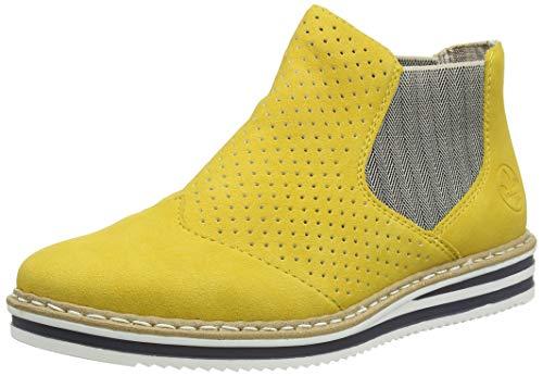 Rieker Damen Frühjahr/Sommer N0255 Chelsea Boots, Gelb (Gelb/Leinen/ 68 68), 40 EU