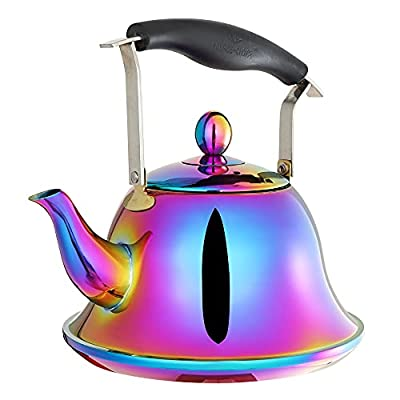ROYDOM Whistling Tea Kettle with Infuser Stainless Steel Teapot Rainbow Teakettle for Stovetop Induction Stove Top Fast Boiling Heat Water Cute Tea Pot 2 Quart 68 Ounce