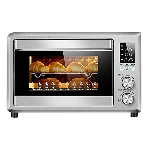 Toaster oven QYJH- Forno riscaldante da bancone - Acciaio Inossidabile - Rivestimento smaltato - Riscaldamento a Sei Tubi - Include Rete Grigliata, forchetta Rotante, teglia e teglia