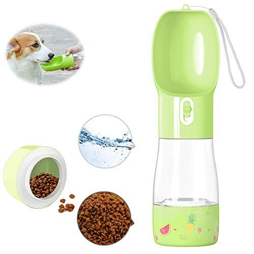 TaimeiMao 2 in 1 Hund Wasserflasche,trinkflasche Hund,Dog Water Bottle,Tragbare Haustier Wasserflasche,Hund Wasserflasche,Tragbare Haustier Trinkflasche, Hundetrinkflasche Unterwegs (Grün)