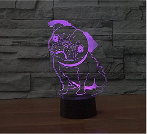 3D Lindo Pug Perro Noche Luz Ilusión Lámpara 7 Cambio de Color LED Táctil USB Mesa Regalo Niños Juguetes Decoración Decoraciones Navidad Regalo de San Valentín