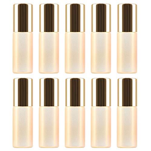 L&H Gadgets - 10 Botellas de Aceite Esencial de 5 ml para dispensador de Vidrio rellenable para Viajes con Bolas de Rodillo de Acero Inoxidable, aromaterapia, aceites Esenciales, Fragancia