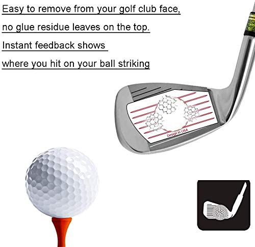 Golf Club Impact Stickers Labes for Irons and Woods Value 125/250pcs, Golf Club Target Label Tape Great for Golf Beginners and Leaners, Fit Traning Aids Practice Swing Ball Hitting (Red-125 Irons)