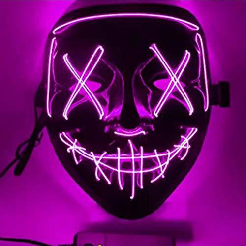 Alycwint Karneval LED Purge Mask , Leuchten Maske, Carnival Maske LED, mit 3 Blitzmodi für Party Fasching Karneval Kostüm Halloween Cosplay Dekoration (Rosa)
