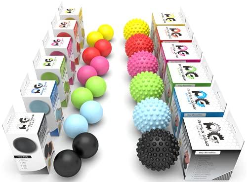 Physix Gear Sport Lacrosse Ball Set of 2 - Deep Tissue Massage Balls for Trigger Points, Plantar Fasciitis Neck & Back Strain - Roller for Rehab, Acupressure Foot Reflexology & Myofascial (RED 2PK)