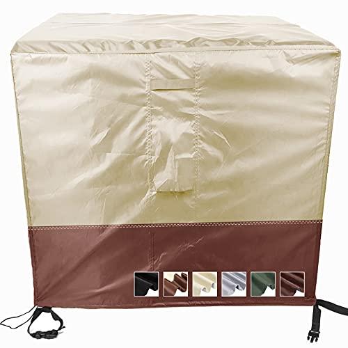 MEEYI Abdeckung gartenmöbel 60x60x60cm 420D Oxford schutzhülle schutzhülle abdeckplane abdeckhaube strandkorb schutzhülle Winterfest UV-beständiges tischabdeckung für gartentisch-Beige und Kaffee
