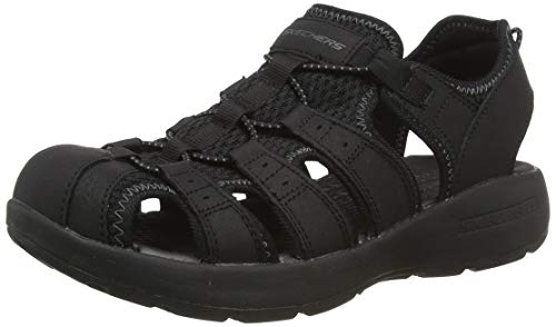 Skechers Men's MELBO Journeyman 2 Closed Toe Sandals, Black (Black Leather/Mesh/Trim BBK), 6.5 (40 EU)