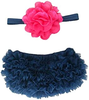 Ruffle Bloomer & Lace Flower Infant Headband Set, Newborn Baby Girl, Navy Blue and Hot Pink