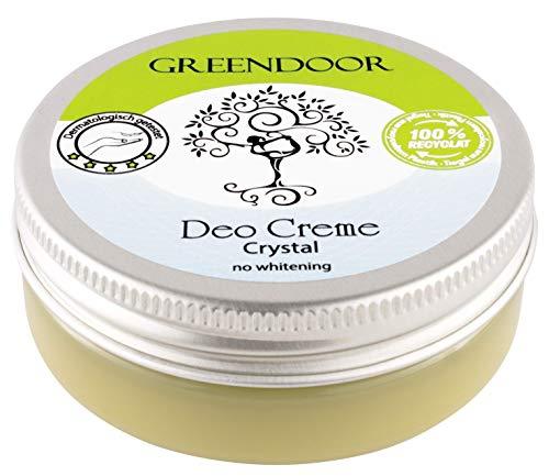 Greendoor Deo Creme crystal vegan 50ml, null Schweißgeruch – ohne Weißeln, ohne Zink, ohne Aluminium, ohne Alkohol, natürlich ohne Tierversuche, dermatologisch bewährt, Naturkosmetik