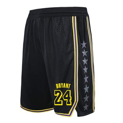 Herren Shorts Lakers 24# Kobe Basketball Hosen Fitness Running Trainingshose Loose Five Pants Black-M