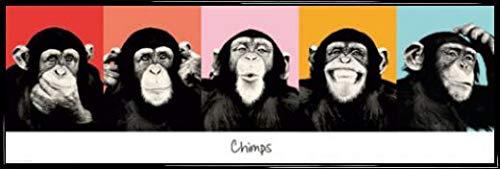 1art1 Monos Póster Puerta Marco Plástico - Chimpancés
