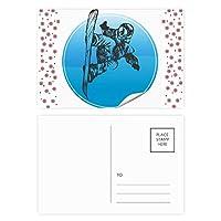ウィンタースポーツはスキーとスキーのストックのパターン クリスマスの花葉書を20枚祝福する