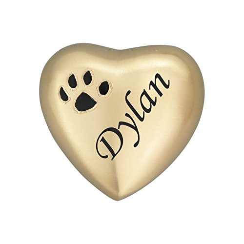 Impresin de huellas en forma de corazn dorado personalizable, recuerdo de urna para perro, gato, cenizas, cremacin