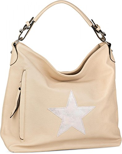 styleBREAKER Shopper Handtasche im Vintage Look mit Stern, Schultertasche, Umhängetasche, Damen 02012076, Farbe:Hellbraun