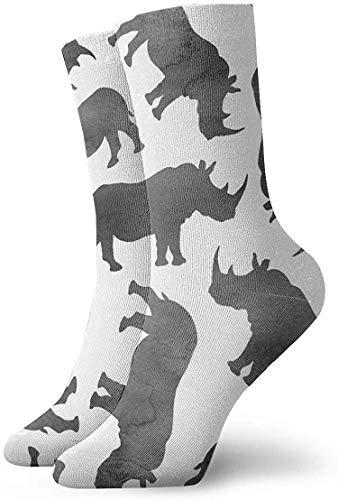 REordernow Chaussettes Respirant Aquarelle Rhinos Unisexe Athlétique Crew Chaussettes Bas Casual Coton Cheville Chaussettes 30 cm