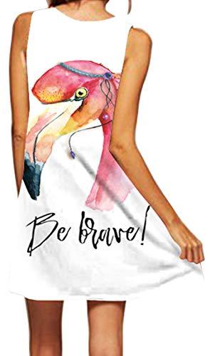 Ocean Plus Mujer Verano Flamenco Camisola Vestido De Playa Top Sin Mangas Trapecio O Corte En A Vestido Oeste (M (EU 36-38), Flamenco Bohemio)