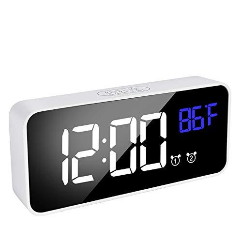 Sveglia digitale da comodino con LED ricaricabile, per camera da letto, con doppia sveglia, 13 suoni...