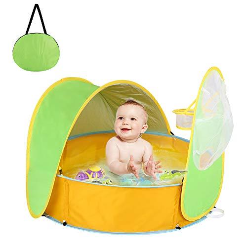 HALOVIE 2 en 1 Tente Plage Bébé Anti UV Pliable Piscine à Balle pour Bébé Tente Pop...
