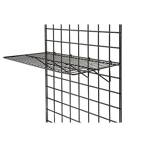 Only Garment Racks BLK-2412 Grid Panel Display Shelf - - Clothing Display Rack Grid, Heavy Duty Shelves, 12'D x 23-1/2'W Straight Shelf for Grid Panel, Black Finish, Wire, (Box of 6) (Pack of 6)