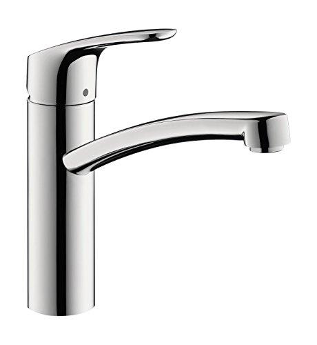 hansgrohe Focus Küchenarmatur Niederdruck (Wasserhahn Küche für offene Warmwasserbereiter, 110°, 150°, 360° schwenkbar, hoher Auslauf 160mm) Chrom