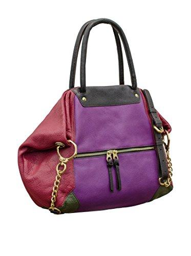 orYANY Jocelyn Italian Grain Leather Satchel, Purple Multi
