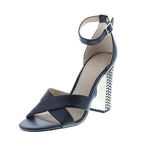 Guess Schuhe Pumps mit Nieten besetzte Damen Echtleder Absatz-Sandaletten Sandale Abend-Schuhe Schwarz, Größe:41