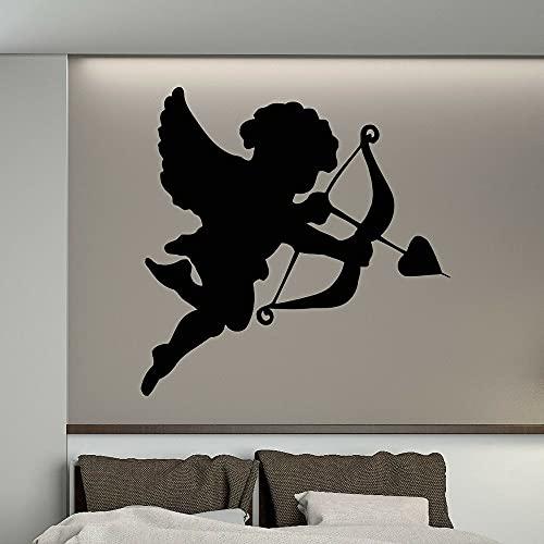 HGFDHG Calcomanías de Vinilo Lindo pequeño Arco de Cupido Dormitorio Art Deco Pintura de Pared diseño decoración de la habitación Flecha en corazón Etiqueta de la Pared