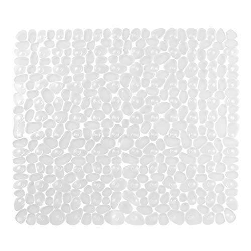 "iDesign Pebblz Plastic Non-Slip Suction Bath Mat, for Shower, Bathtub, Stall, 22"" x 22"", Clear"