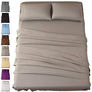 Sonoro Kate Sheets Super Soft Microfiber 1800 Thread Count 16 Inch Deep Pocket 4 Piece Queen Grey