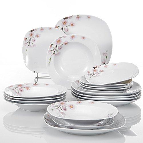 VEWEET Annie Piatti Servizio in Porcellana Set di Piatti 36 Pezzi con 12 Piatti Piani, 12 Piatti Fondi e 12 Piatti da Dessert per 12 Persone