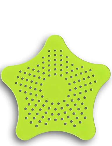 HomeTools.eu® - XXL großes Silikon Abfluss-Sieb mit Saugnäpfen, für Küche Spüle Bad Wanne Dusche gegen Haare, Krümel, 15 x 15cm, grün