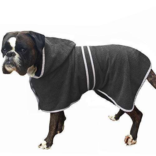 HOMELEVEL Hunde Bademantel aus 100% Baumwolle für Weibchen und Männchen schnell trocknend Hund Bademantel Handtuch Anthrazit/Grau L