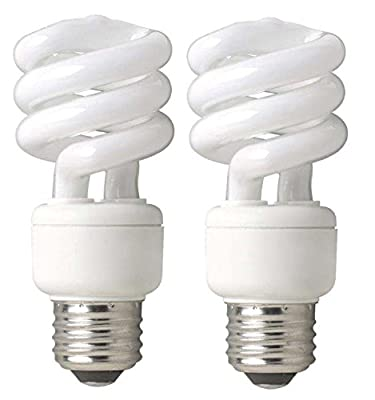 TCP 689143 CFL Mini Spring A Lamp - 60 Watt Equivalent (only 14W used) Soft White (2700k) Spiral Light Bulb - 3 pack