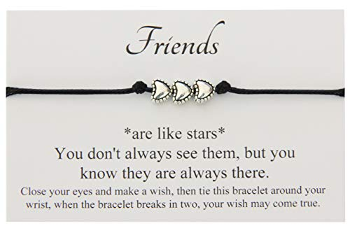 Friends Like Stars Handmade Wish bracelet, 3 HEARTS Charm, Birthday Friendship Best Friend Sister, Come With Organza Gift bag (Black) by Lucor