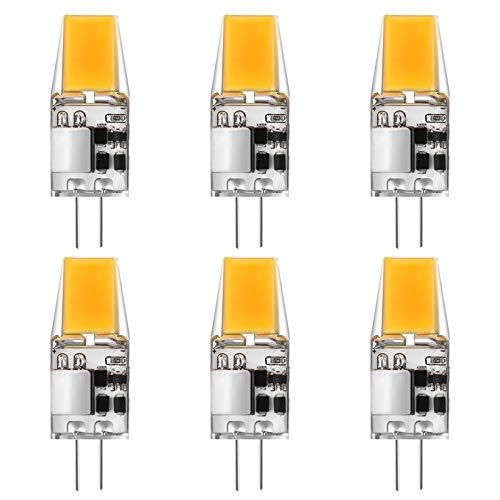 G4 LED-Glühbirnen, 5W (50W Halogen Equivalent), 500lM, COB, AC/DC 12 V, Nicht dimmbare G4-Glühbirnen für die Innenbeleuchtung, 6er-Pack,Warm White