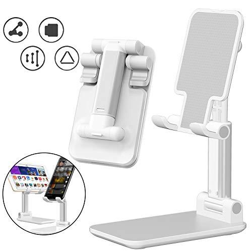 GeekerChip Supporto per Tablet/Telefono Regolabile,Cellulare Supporto con Pieghevole e Antiscivolo,Supporto da Cellulare Compatibile da 4'-7,9' dispositivi per Lezioni Online(Bianca)