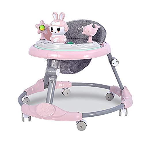 NHK-MX Andador para bebé Multifunción de Actividades o tacatá Ruedas Silenciosas Plegable Carga máxima 25 kg para niños y niñas de 6 a 18 Meses (Color : Pink)