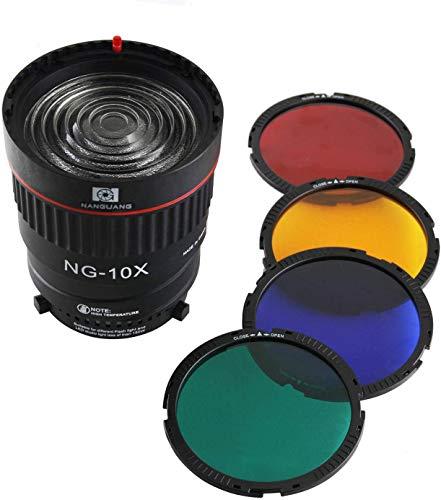 EXMAX EX-10X Fresnel Lens Focalizzazione Kit di lenti adattatore per luci Bowens-fit 10X Studio Light Focus Mount Lens Regolare per Flash & Studio LED Light con 4 filtri colore
