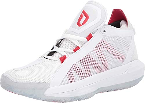 adidas Dame 6 J, Zapatillas, FTWR White/Scarlet/Core Black, 38 2/3 EU