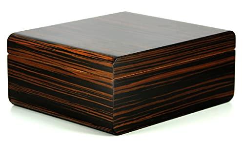 ADORINI Humidor Novara Deluxe Cigar Box for Storing Approx. 75 Cigars in Brown Ebony
