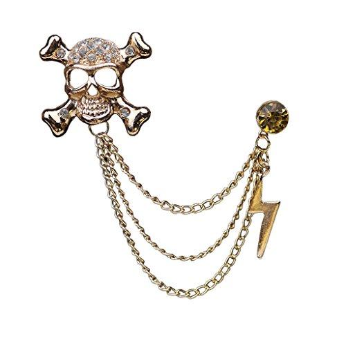 Collar De Cristal Esqueleto De La Cadena De Joyería De Moda Broche De Oro Para Los Hombres Traje
