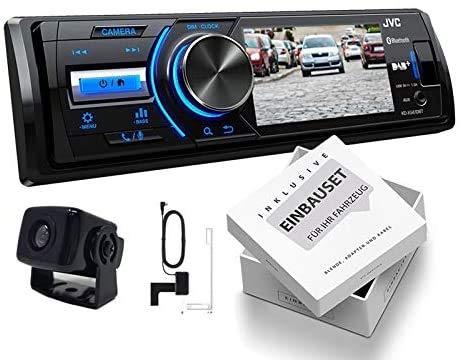 JVC KD-X561DBT 1-DIN DAB Media Receiver Farbdisplay inkl Rückfahrkamera und DAB Antenne für Jeep Grand Cherokee (WH Facelift) 2007-2010 schwarz