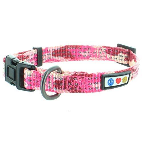 PAWTITAS Reflektierende Hundehalsband Stitching Welpen/Hundehalsband Verstellbare Nylon | Hunde Halsband Atmungsaktives | Reflektierend Halsband für Hund - Tarnung Rosa Hundehalsband Klein Hund