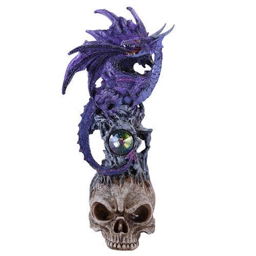 Pacific Giftware 10' H Winged Purple Dragon on Skull Head Rhinestone Rock Crystal